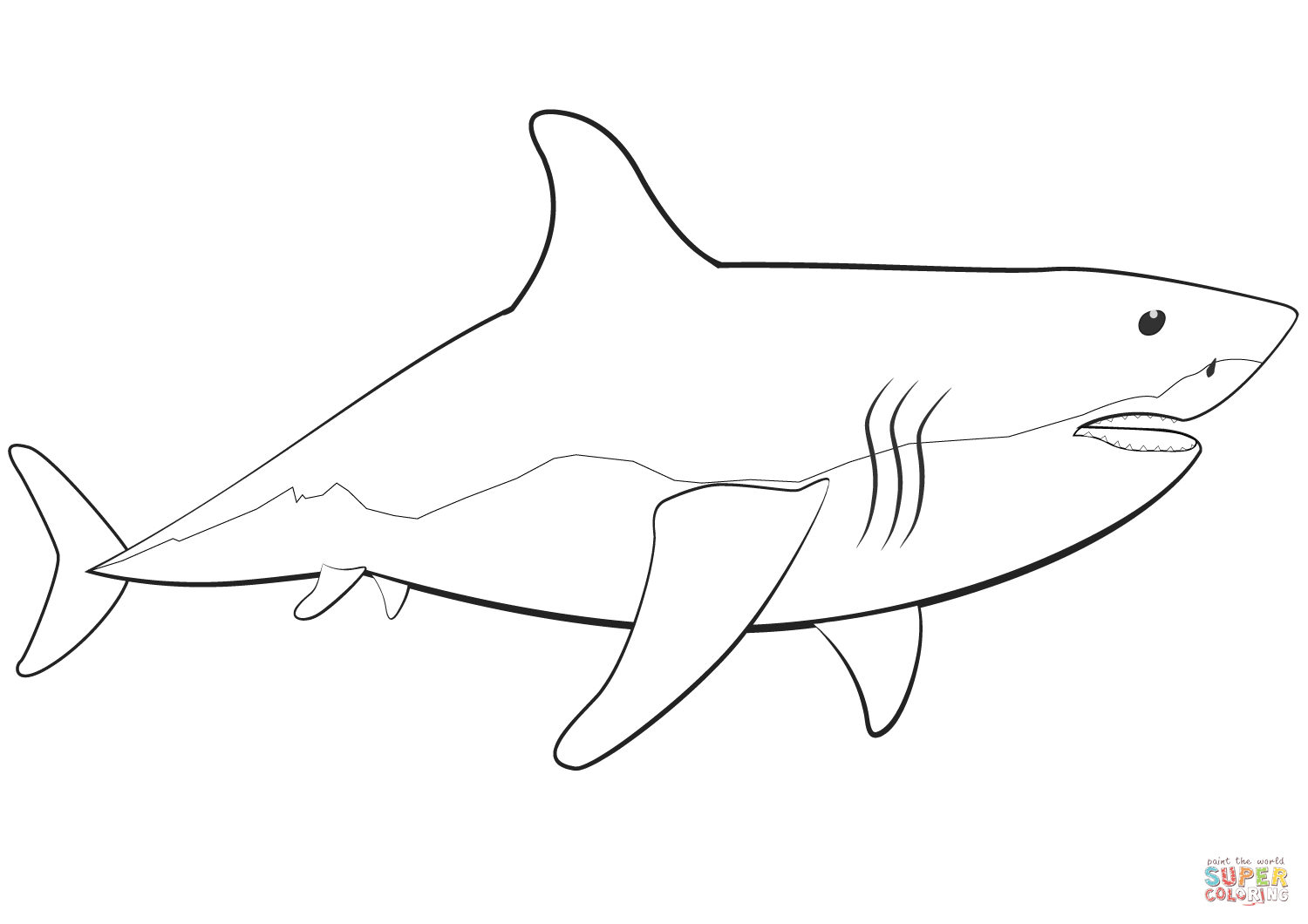Great White Shark Coloring Page | Free Printable Coloring Pages - Free Printable Shark Coloring Pages