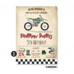 Green Dirt Bike Birthday Invitation Invitations Free – Iamflake.pro   Motorcycle Invitations Free Printable