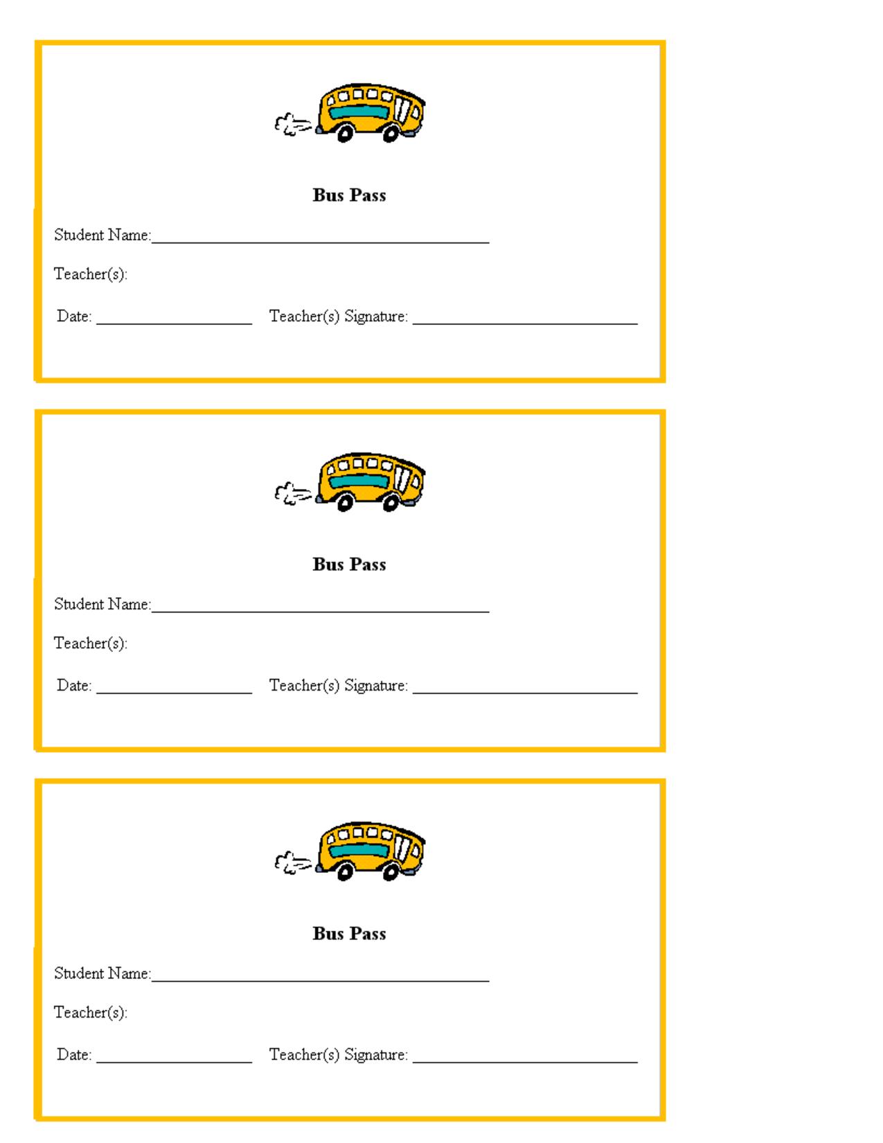 Hall Pass Template For Teachers   Teacher Printables School Bus - Free Printable Hall Pass Template