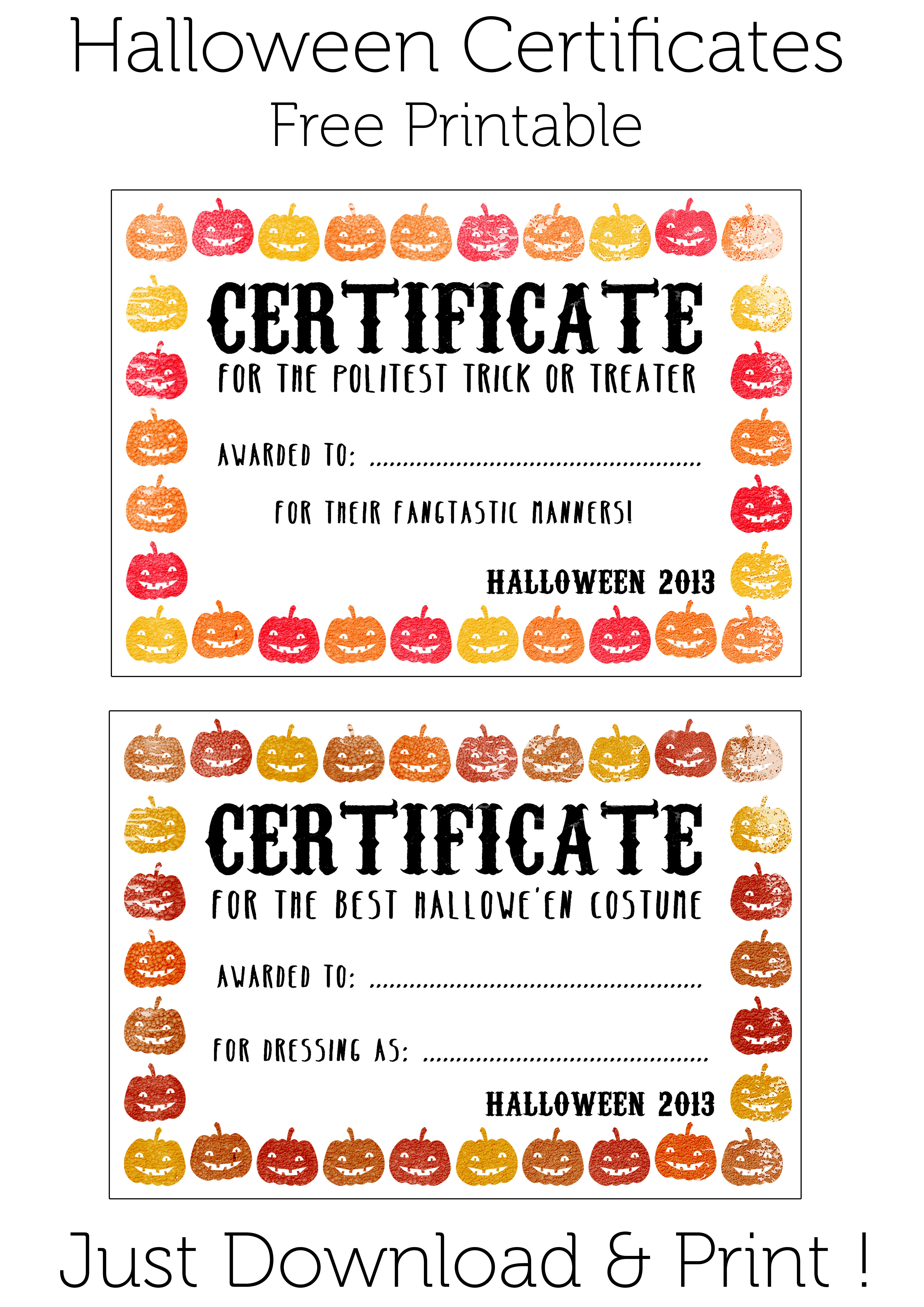 Halloween Certificates ! Give Them Out To Trick O' Treaters As Well - Best Costume Certificate Printable Free