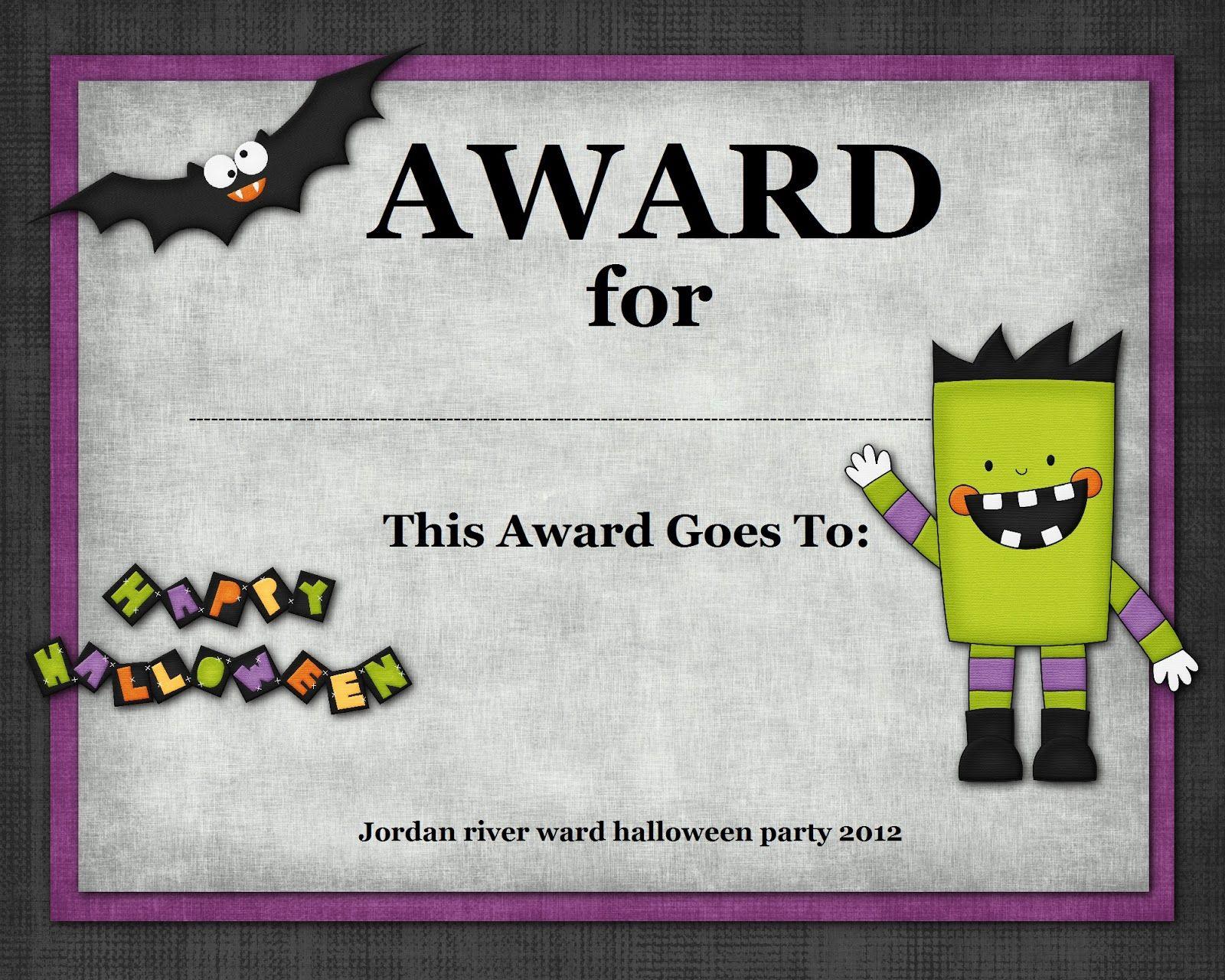Halloween Costume Award   Halloween   Pinterest   Halloween - Free Printable Halloween Award Certificates
