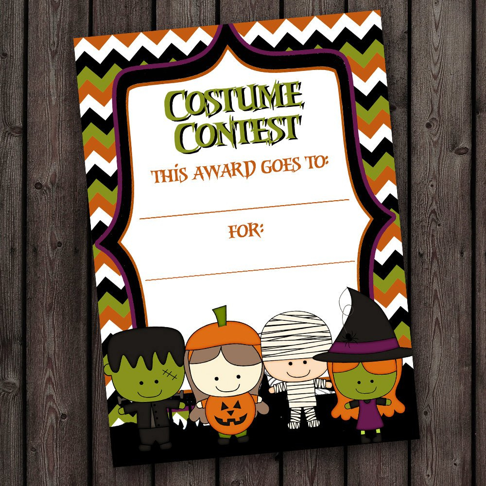 Halloween Costume Contest Certificate Kids Halloween Party | Etsy - Free Printable Halloween Award Certificates
