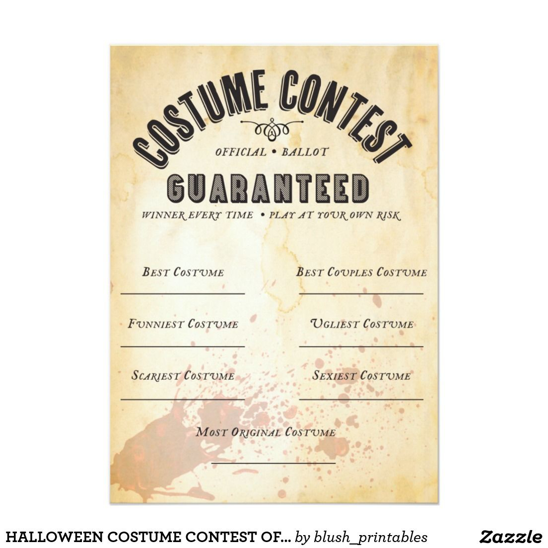 Halloween Costume Contest Official Ballot Card | Zazzle - Best Costume Certificate Printable Free