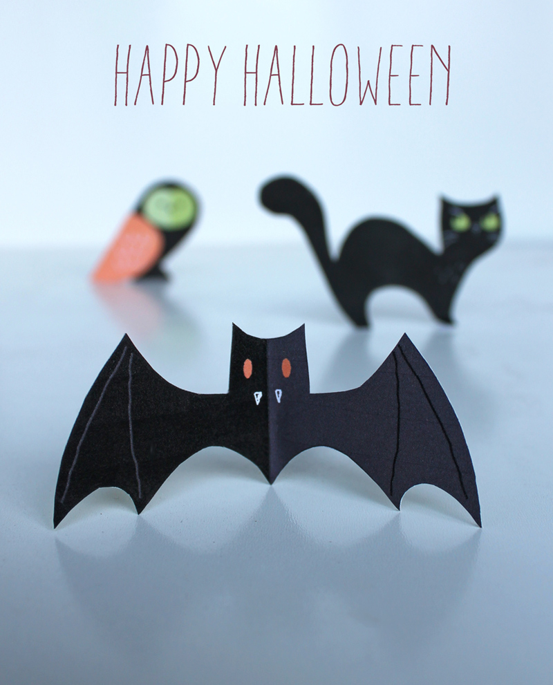 Halloween Craft Menagerie - Free Cute Cats, Owls & Bats! - Printable Paper Crafts Free