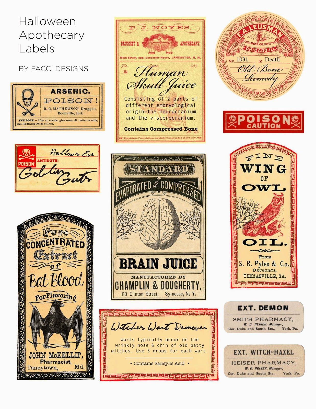 Halloween Love: Spooky Apothecary Labels Free Printable   Halloween - Free Printable Apothecary Jar Labels