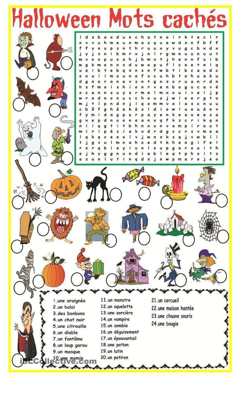 Halloween Mots Cachés | Fle | Halloween Worksheets, Halloween - Free Printable French Halloween Worksheets