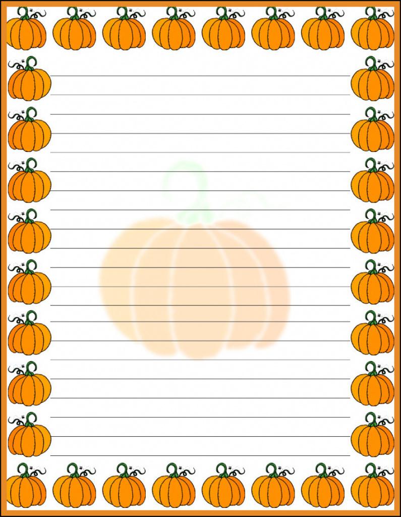 Halloween Pumpkin Border Stationery, Free Printable Halloween With - Free Printable Halloween Stationery Borders