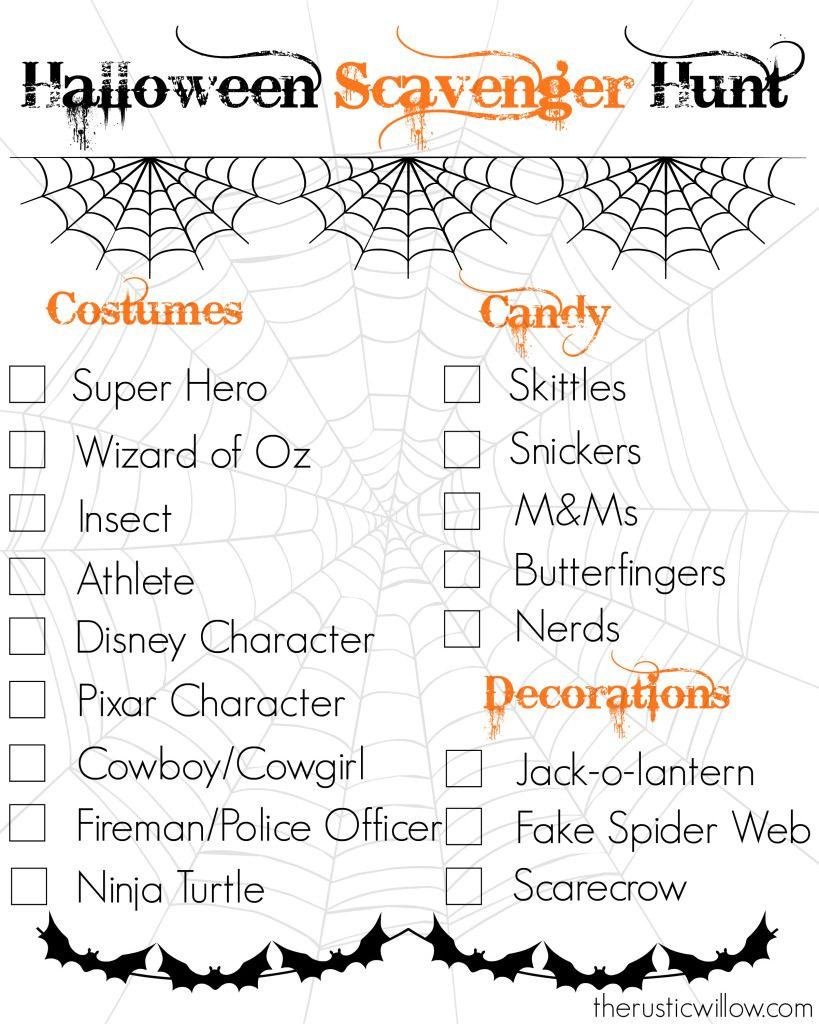 Halloween Scavenger Hunt--Free Printable   Therusticwillow - Free Printable Halloween Scavenger Hunt