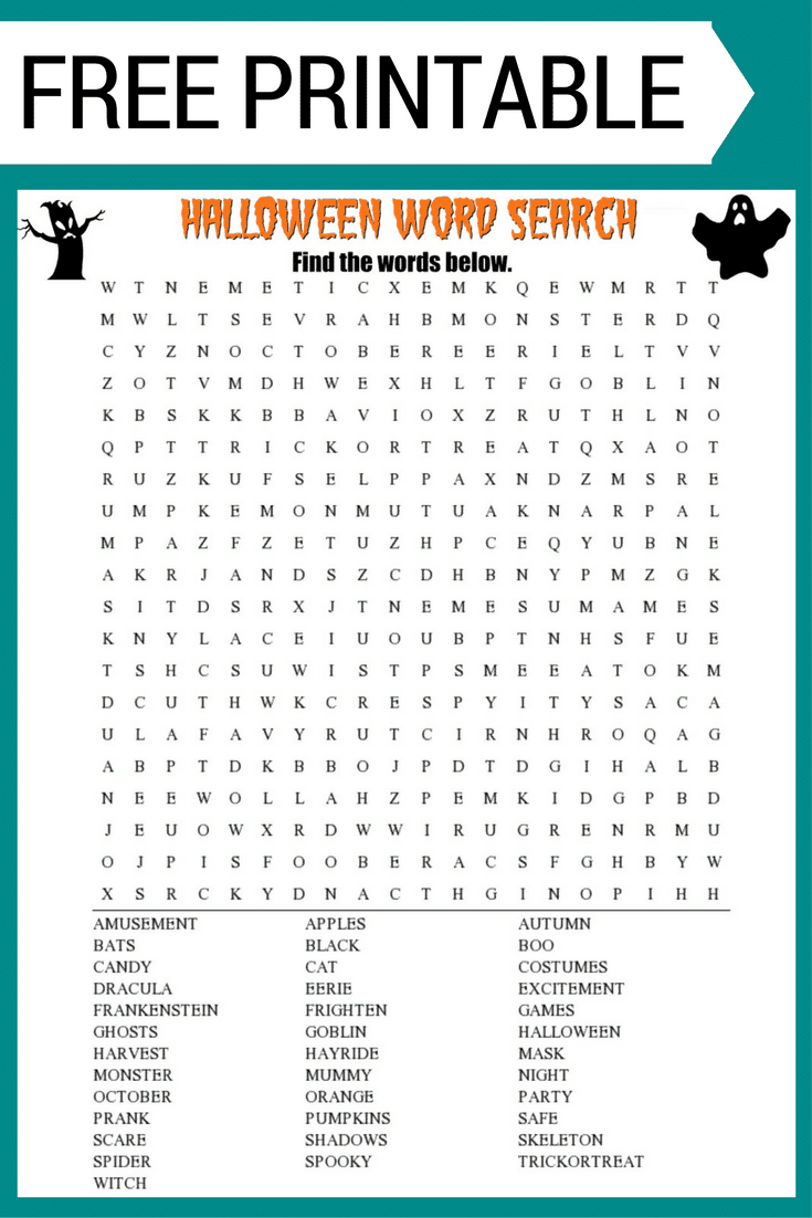 Halloween Word Search Printable Worksheet - Halloween Puzzle Printable Free
