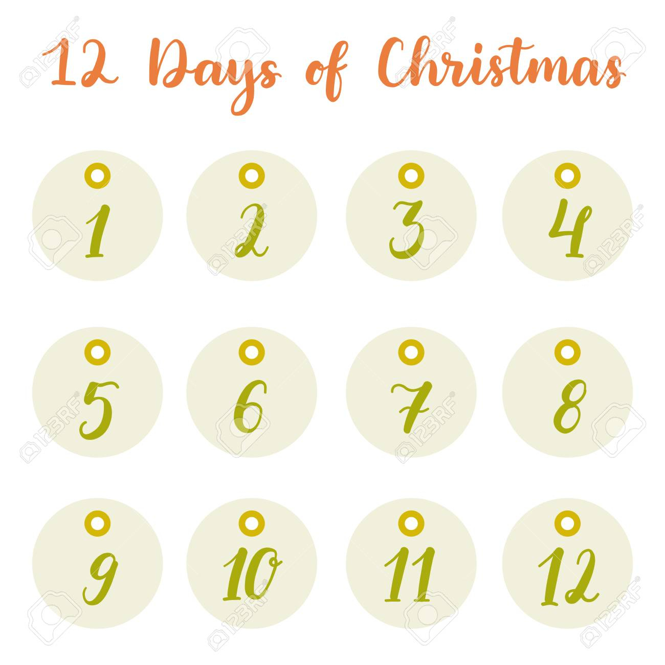 Hand Drawn 12 Days Of Christmas Holiday Gift Tags Collection - Free Printable 12 Days Of Christmas Gift Tags