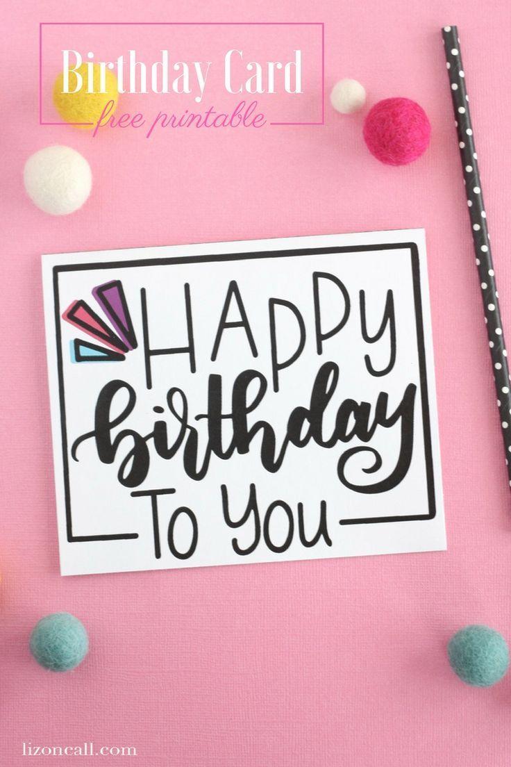Hand Lettered Free Printable Birthday Card   Diy/crafts   Free - Free Printable Birthday Cards For Mom