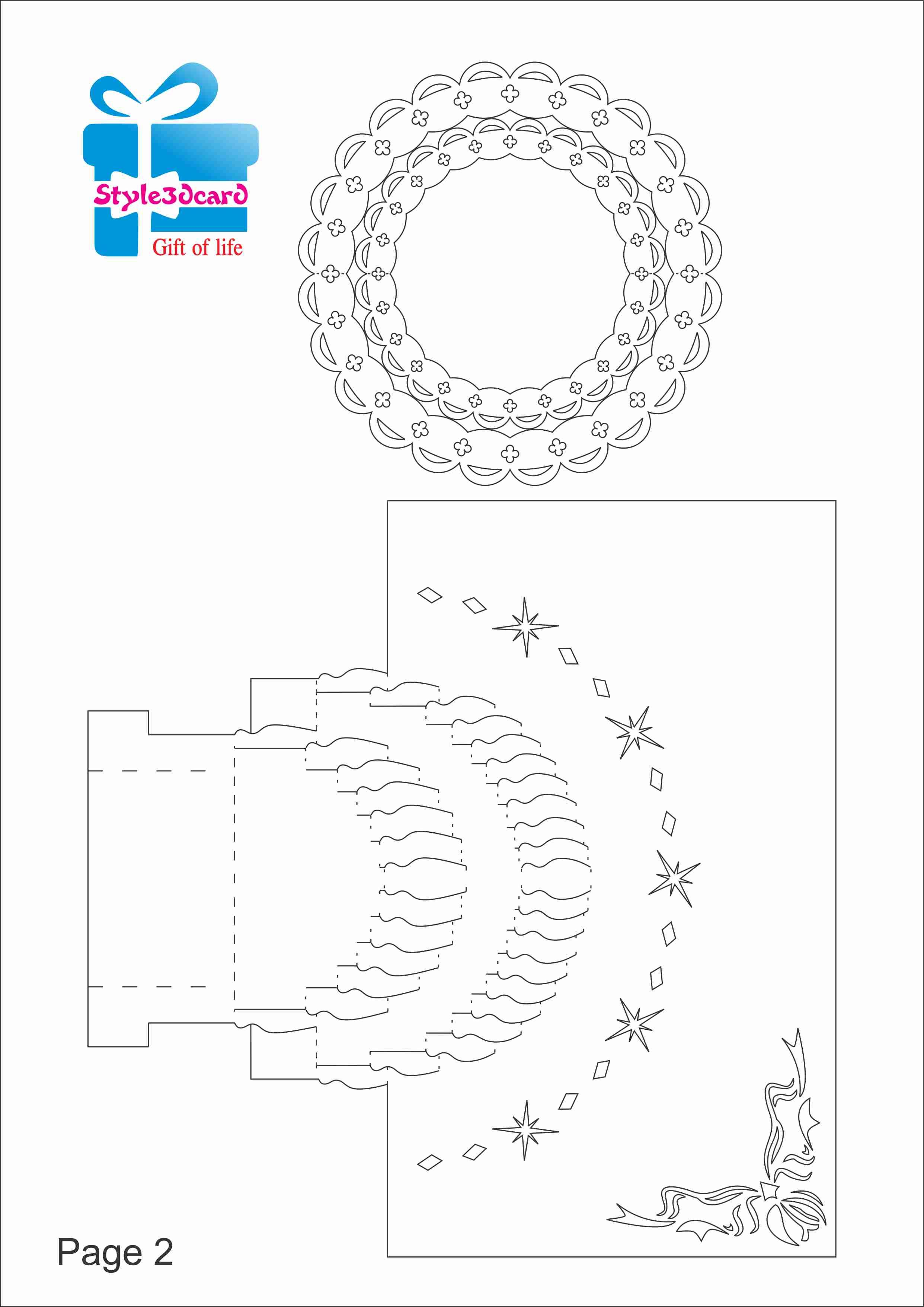 Happy Birthday-Cake-3D-Pop-Up-Greeting-Card/ Kirigami Pattern 2 | 1 - Free Printable Kirigami Pop Up Card Patterns