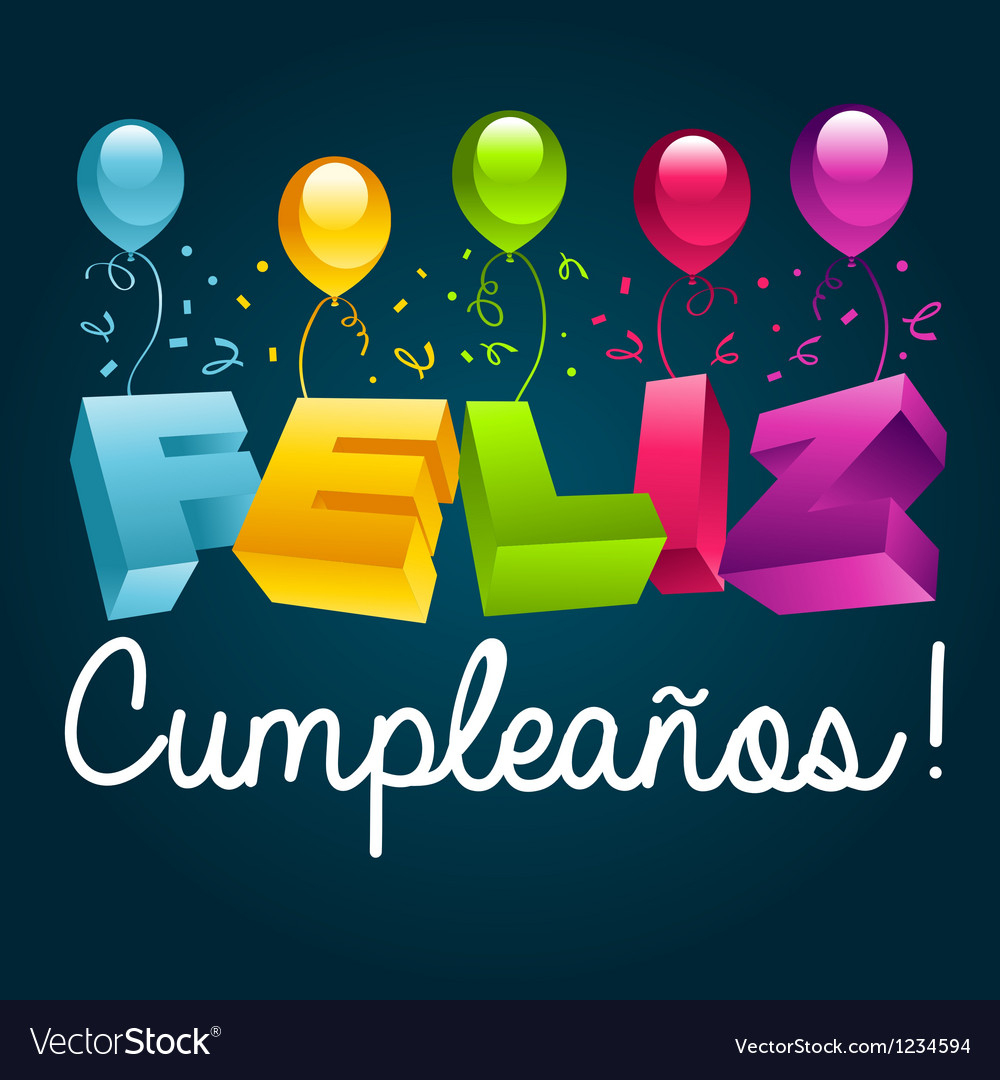 Happy Birthday In Spanish Royalty Free Vector Image - Free Printable Happy Birthday Cards In Spanish