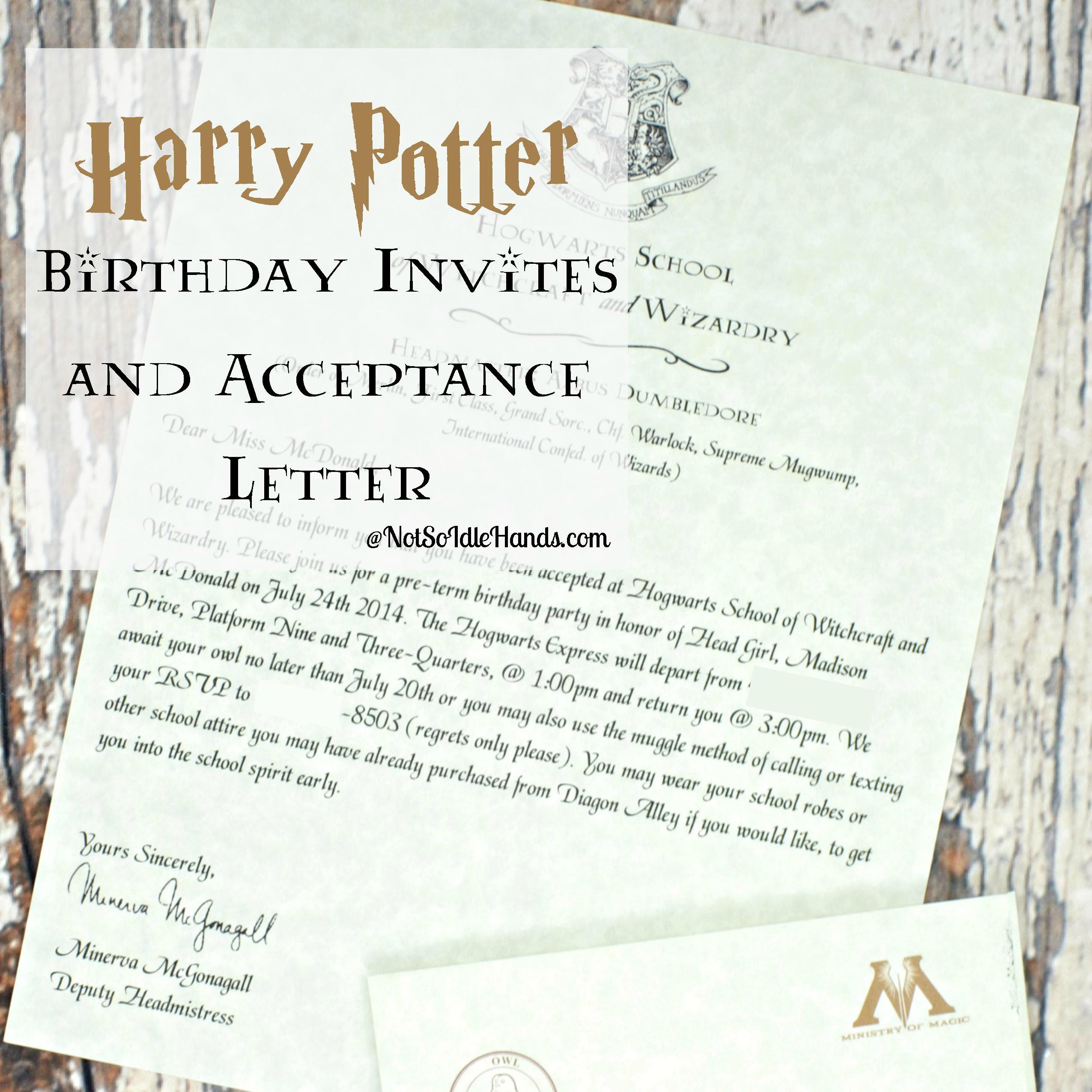 Harry Potter Birthday Invitations And Authentic Acceptance Letter - Harry Potter Birthday Invitations Free Printable