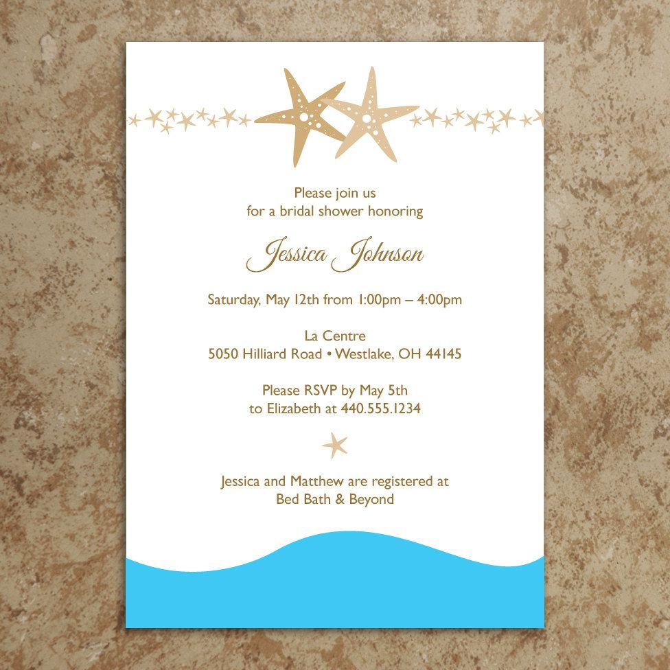 Have A Memorable Day With These Bridal Shower Ideas!   Bridal Shower - Free Printable Beach Theme Bridal Shower Invitations