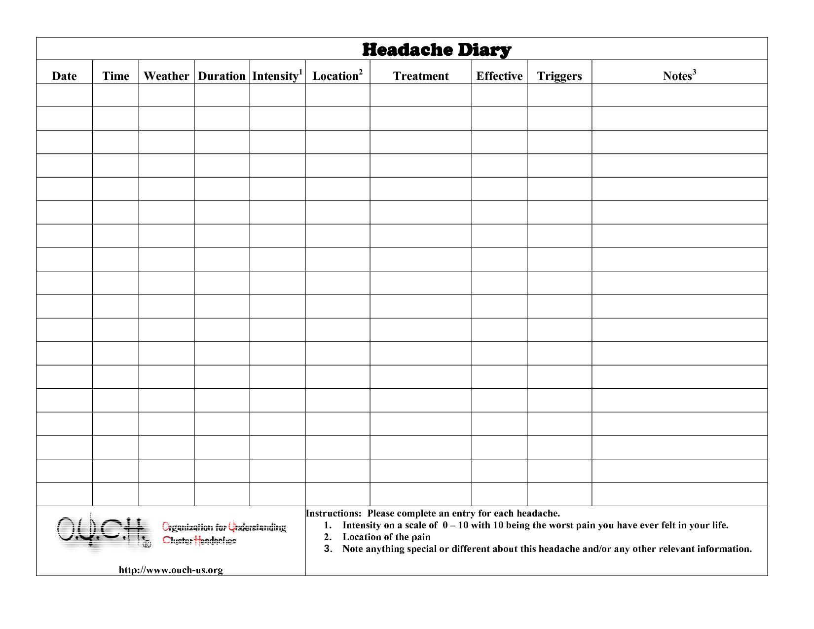 Headache Diary Headache Diary | Health | Pinterest | Headache Diary - Free Printable Headache Diary