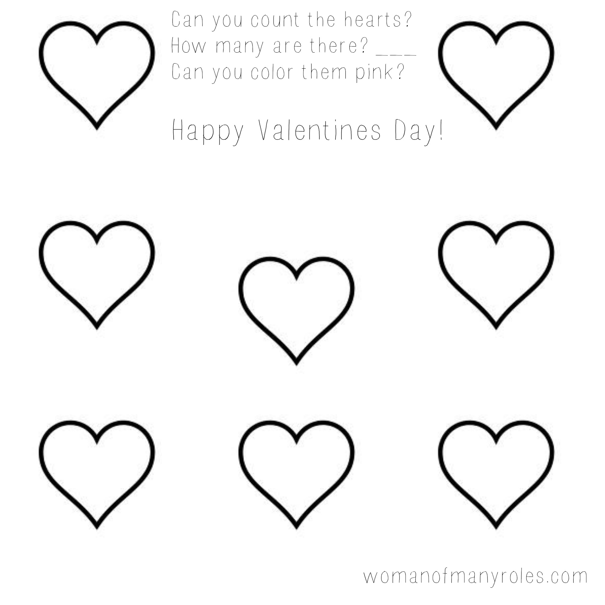 Heart Counting Printable Preschool Worksheet : Woman Of Many Roles - Free Printable Preschool Valentine Worksheets