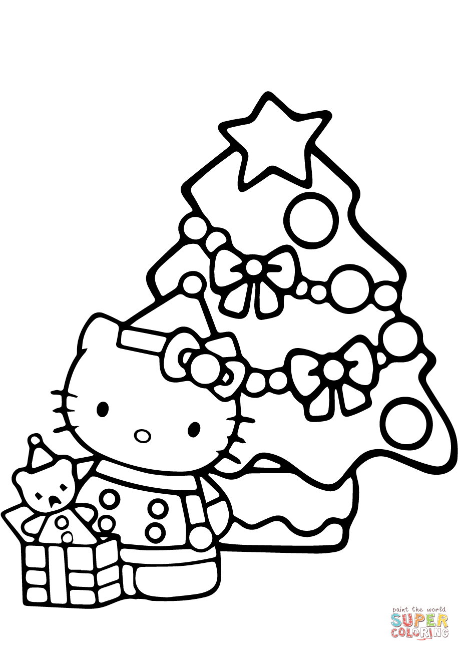 Hello Kitty Christmas Coloring Page | Free Printable Coloring Pages - Free Printable Christmas Coloring Pages