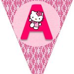 Hello Kitty Free Printable Bunting. Banderines De Hello Kitty   Free Printable Hello Kitty Alphabet Letters