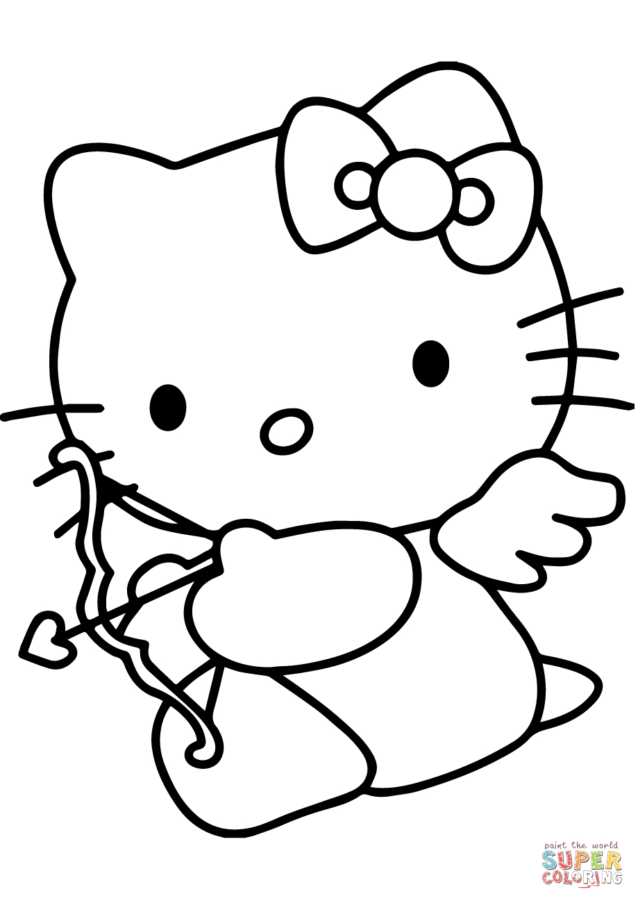 Hello Kitty Valentine's Day Cupid Coloring Page | Free Printable - Free Printable Pictures Of Cupid
