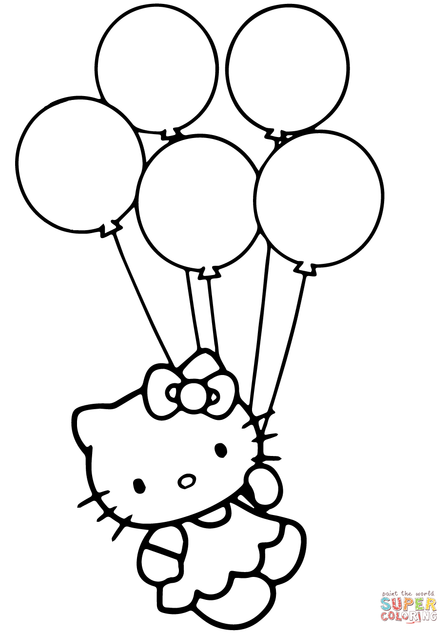 Hello Kitty With Balloons Coloring Page   Free Printable Coloring Pages - Free Printable Pictures Of Balloons