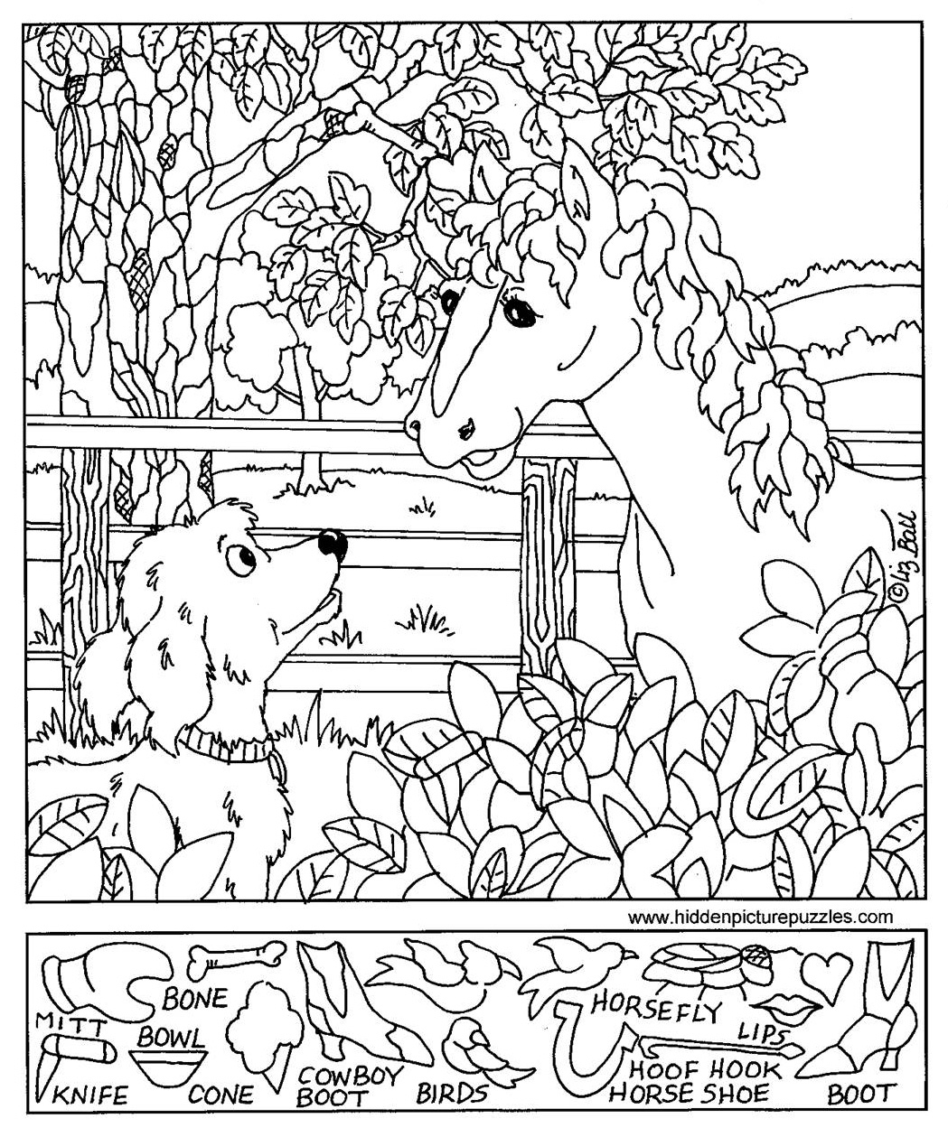 Hidden Pictures Page - Print Your Hidden Pictures Horse Dog Page - Free Printable Fall Hidden Pictures