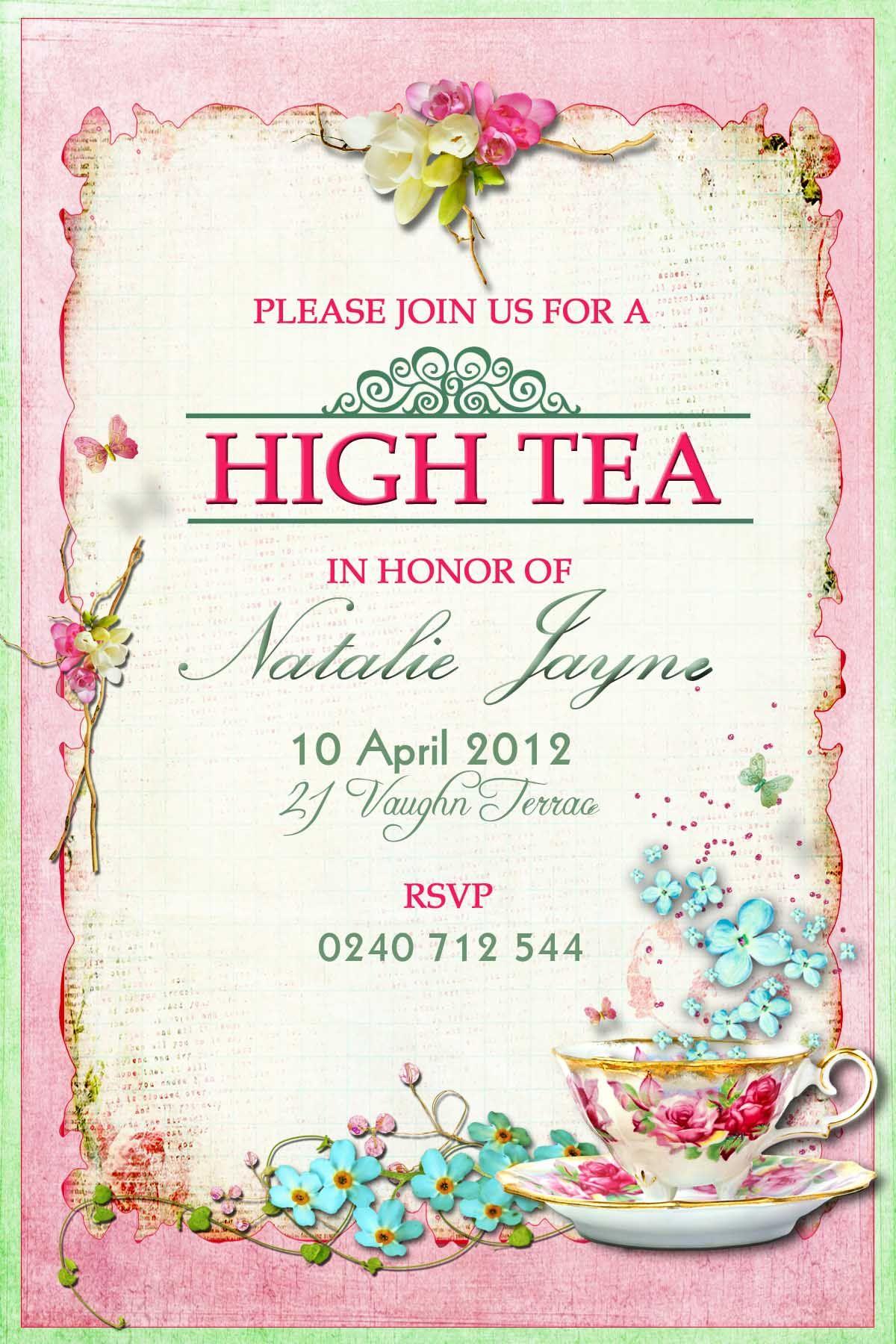 High Tea Invitation Idea   Vegan Tea Time Ⓥ In 2019   High Tea - Free Printable Kitchen Tea Invitation Templates
