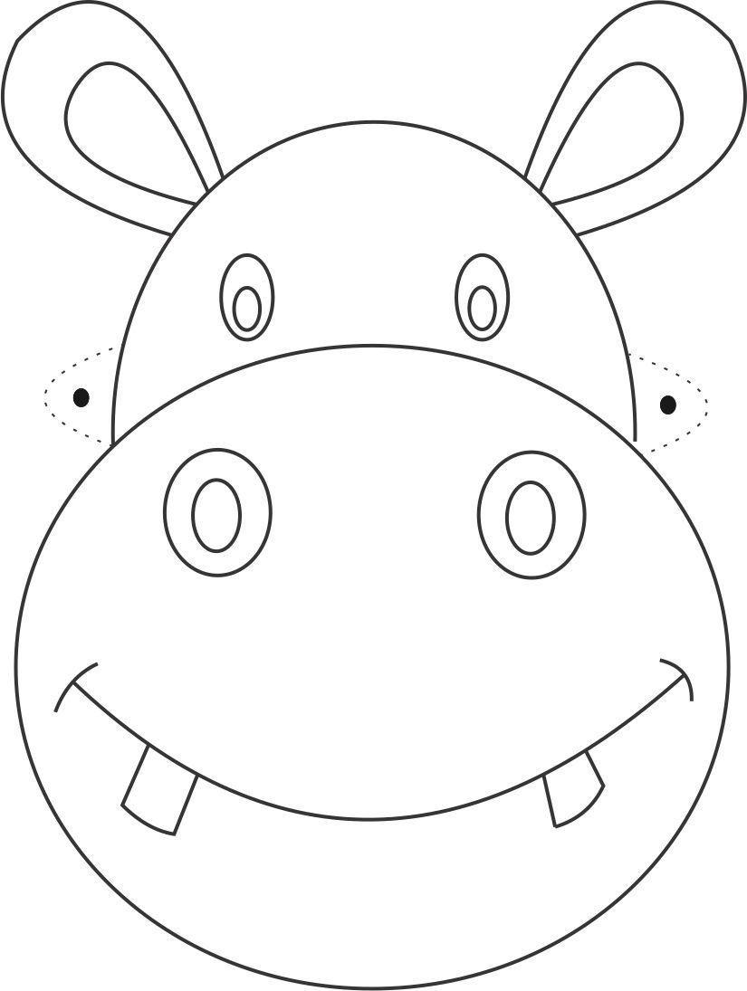 Hippo Mask Printable Coloring Page For Kids | Çizimler | Máscaras De - Free Printable Hippo Mask