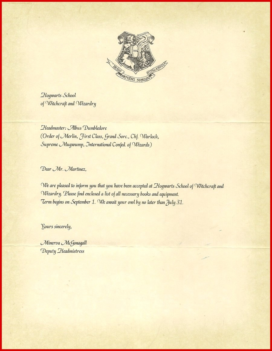 Hogwarts Acceptance Letter Template Pdf | Free Letter Templates For Word - Hogwarts Acceptance Letter Template Free Printable