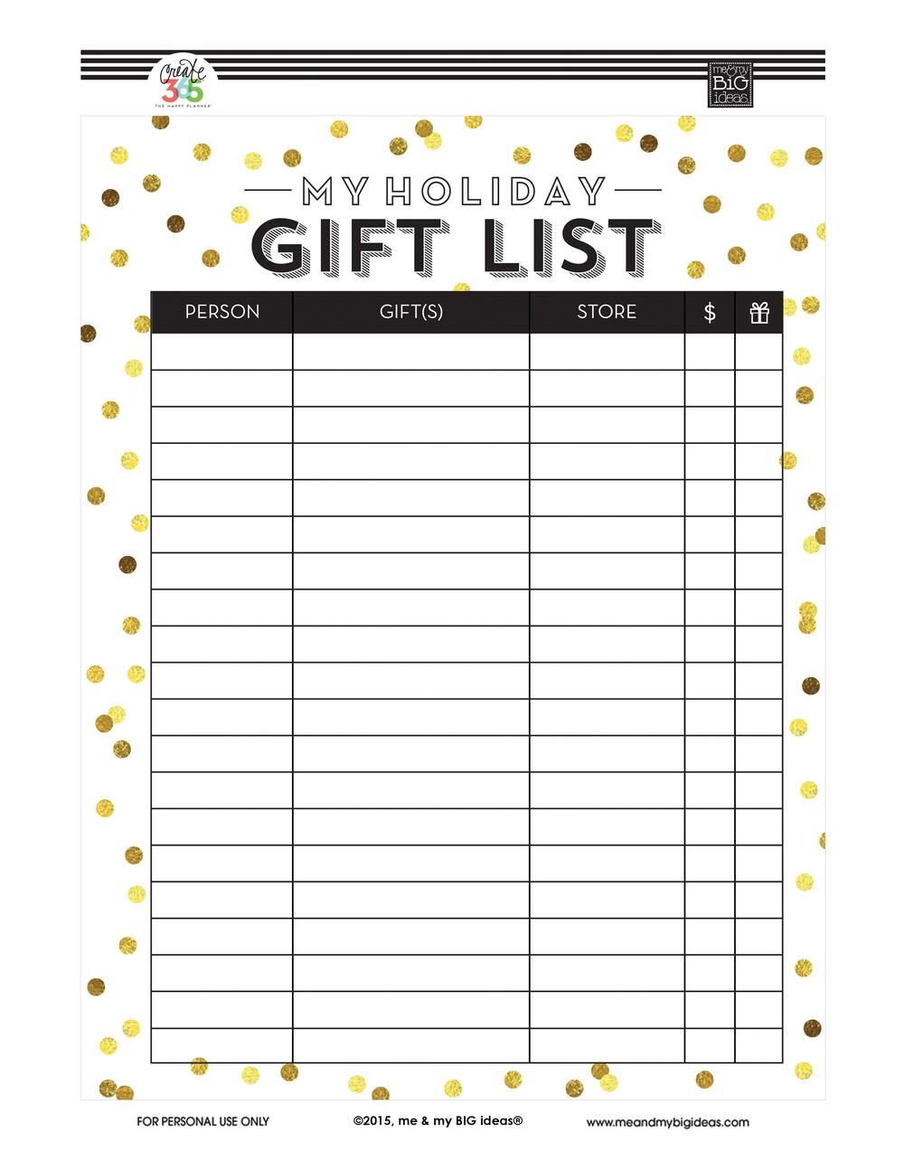 Holiday Gift List' Free Printables — Me & My Big Ideas - Free Printable Christmas List