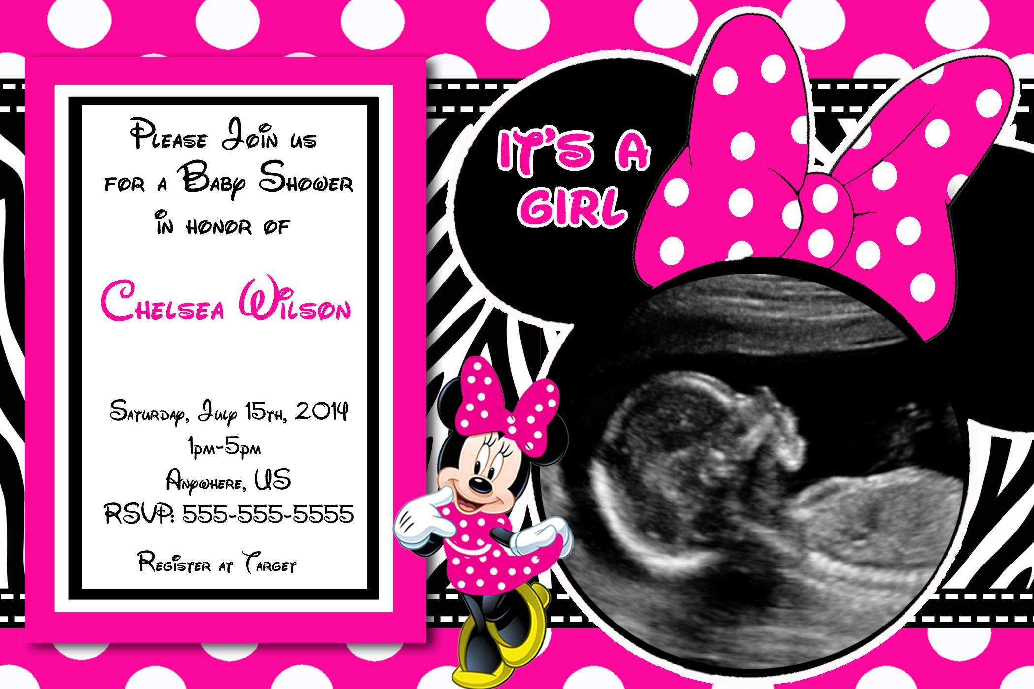 Hot Pink Minnie Mouse Baby Shower Invitations $8.99 | Baby Shower - Free Printable Minnie Mouse Baby Shower Invitations