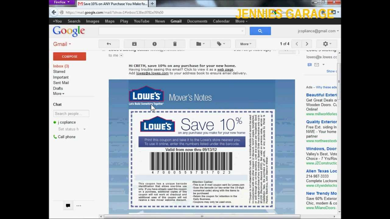 How To Get A Free Lowes 10% Off Coupon - Email Delivery - Youtube - Free Printable Lowes Coupons