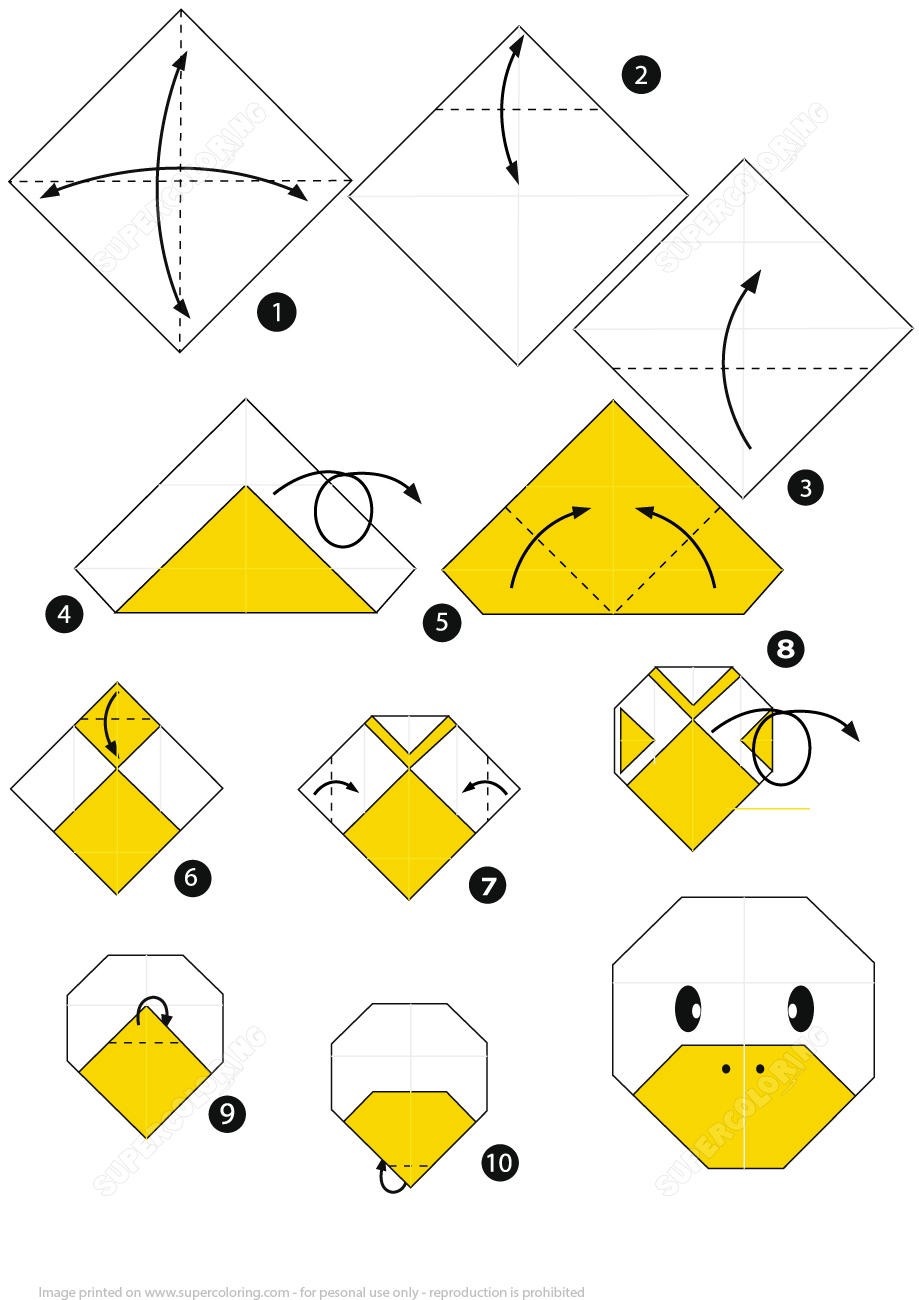 How To Make An Origami Duck Face Stepstep Instructions   Free - Printable Origami Instructions Free