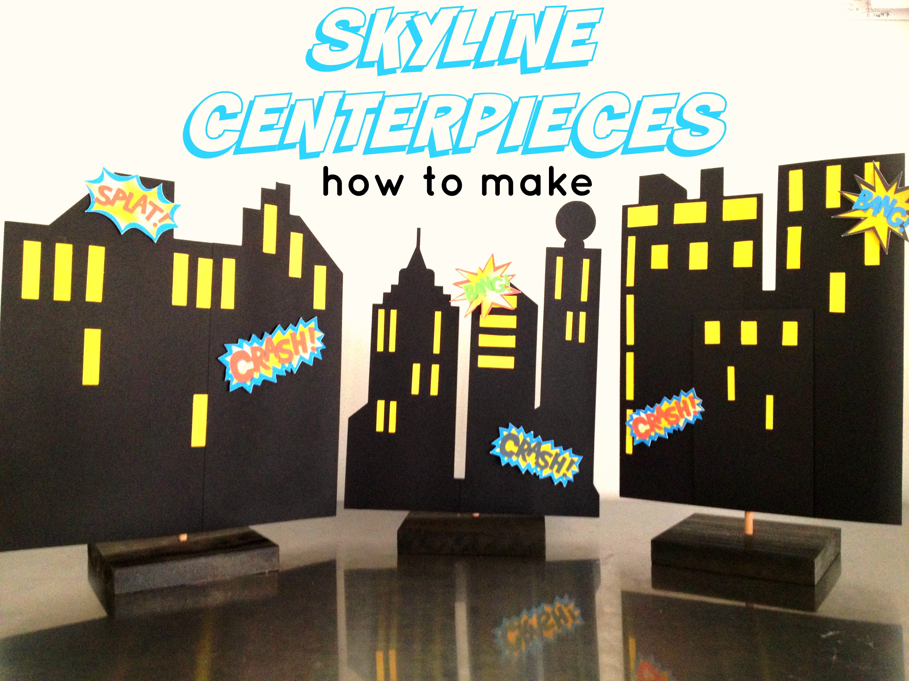 How To Make Superhero Skyline Centrepieces, Plus Diy Video - Free Printable Superhero Skyline