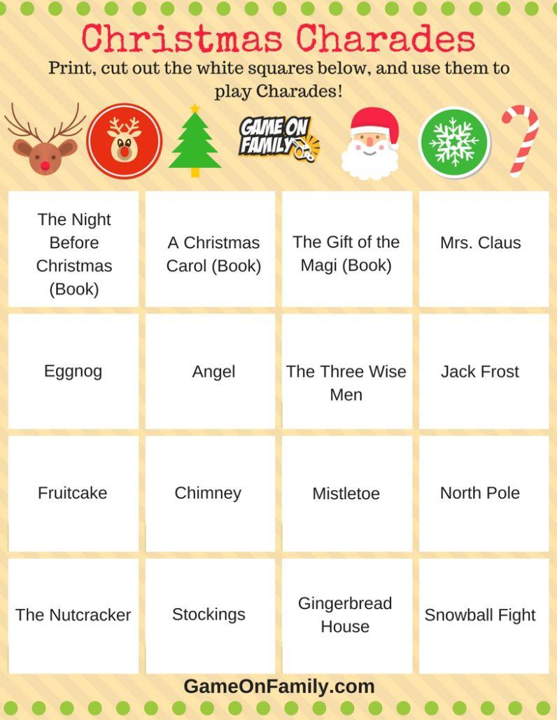 How To Play Christmas Charades: Free Printable Games!   Game On Family - Free Printable Charades Cards