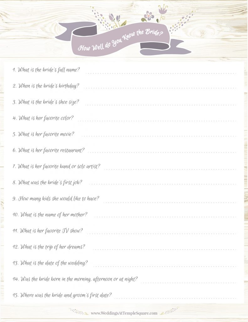 How Well Do You Know The Bride Game Free Printable | Free Printables - How Well Do You Know The Bride Free Printable