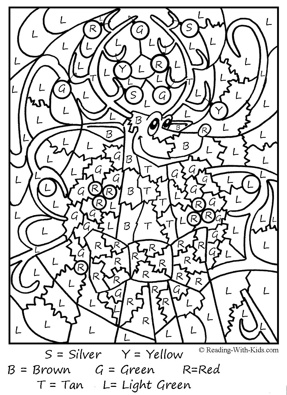 Hundreds Of Free Printable Xmas Coloring Pages And Xmas Activity - Free Printable Christmas Color By Number Coloring Pages