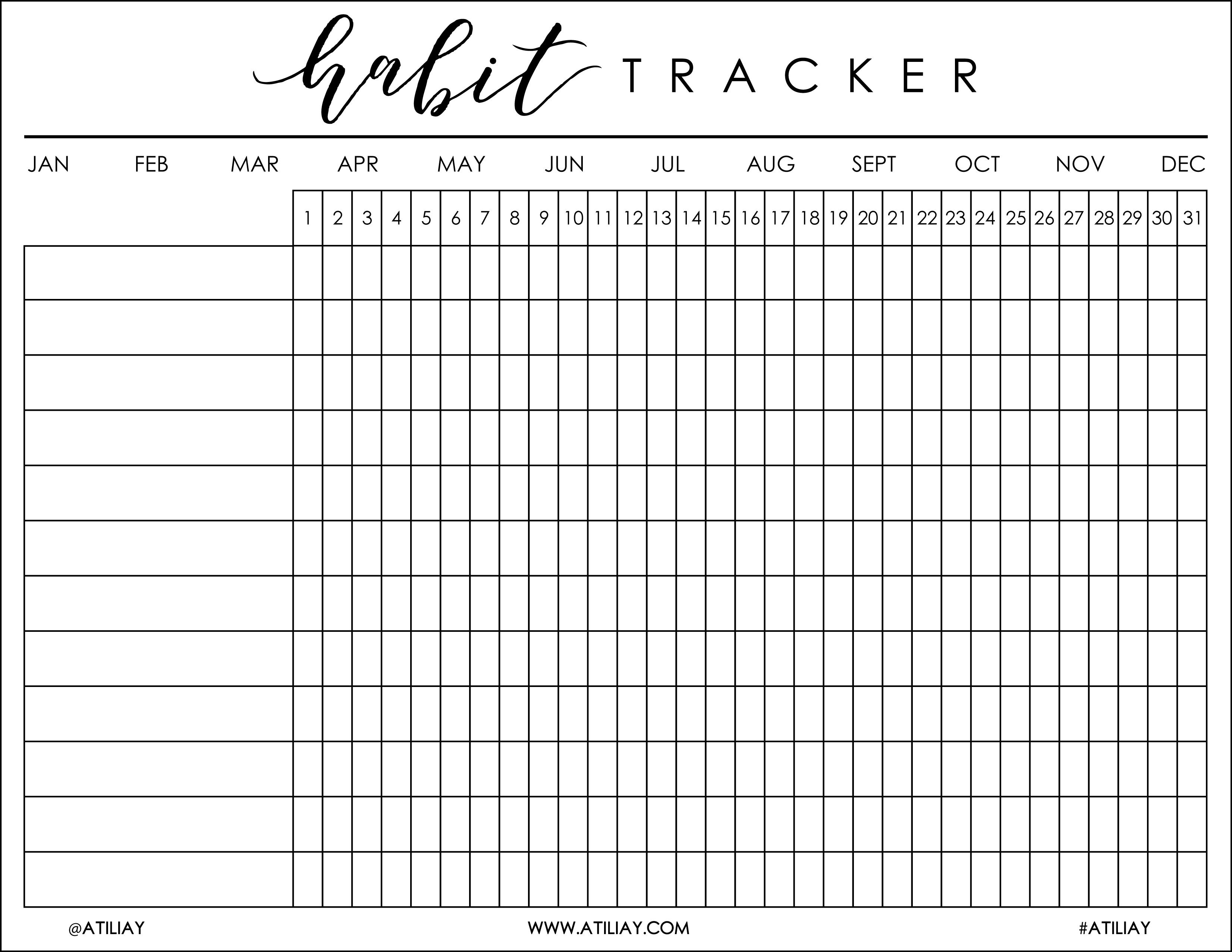 I Was Recently Helping My Boyfriend, Justin, Get His Bu … | Bujo - Habit Tracker Free Printable