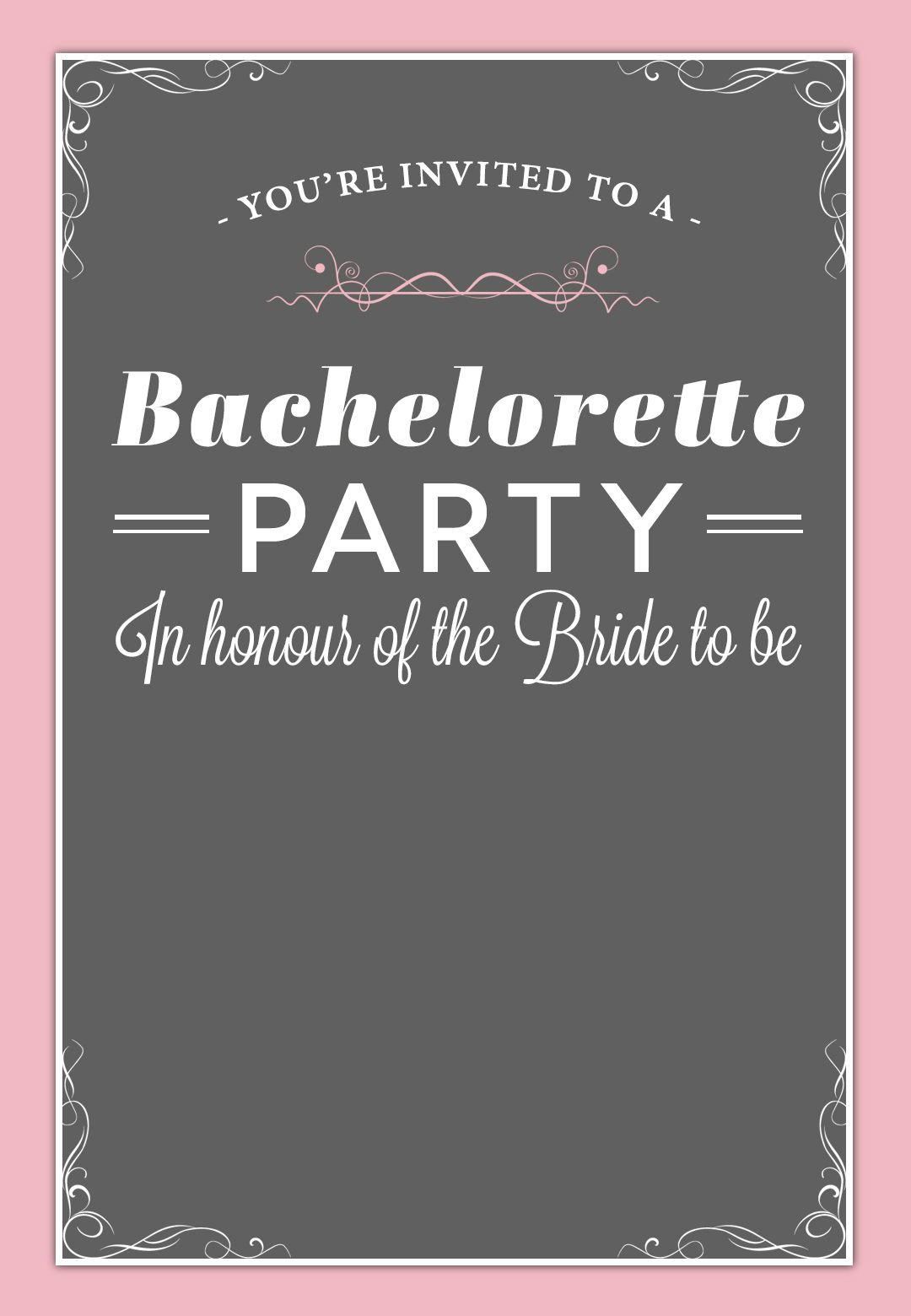 In Honour Of The Bride - Free Printable Bridal Shower Invitation - Free Printable Bridal Shower Invitations