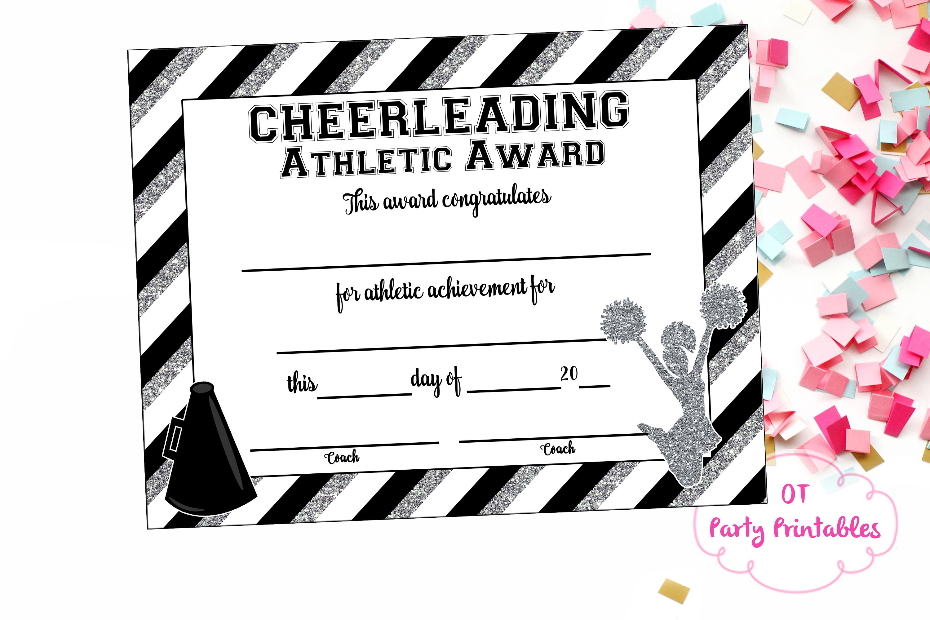 Instant Download Cheerleading Certificate Cheerleading | Etsy - Free Printable Cheerleading Certificates