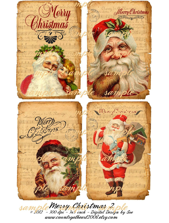 Instant Download - Merry Christmas 2 - 3 X 5 - Printable Digital - Free Printable Christmas Photo Collage