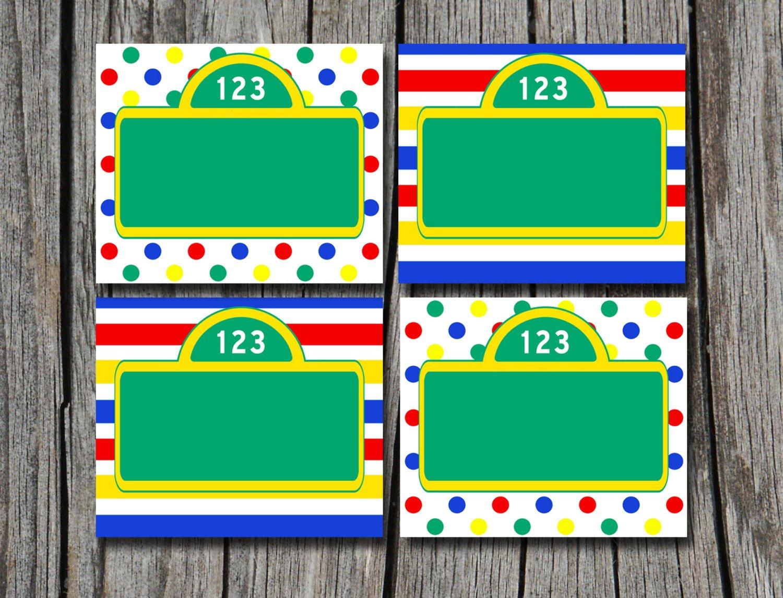 Instant Download Sesame Street Folding Food Tent Label | Etsy - Free Printable Sesame Street Food Labels