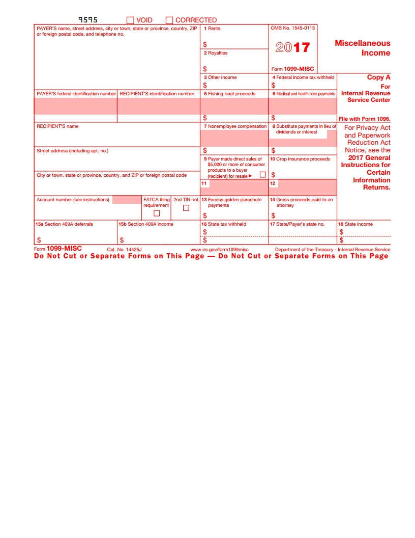 Irs 1099 Misc Form - Free Download, Create, Fill And Print - Free Printable 1099 Form