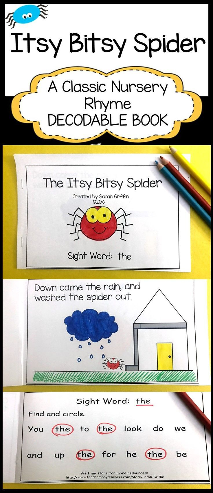 Itsy Bitsy Spider | Printable Decodable Book | Sight Word Reader - Free Printable Decodable Books For Kindergarten
