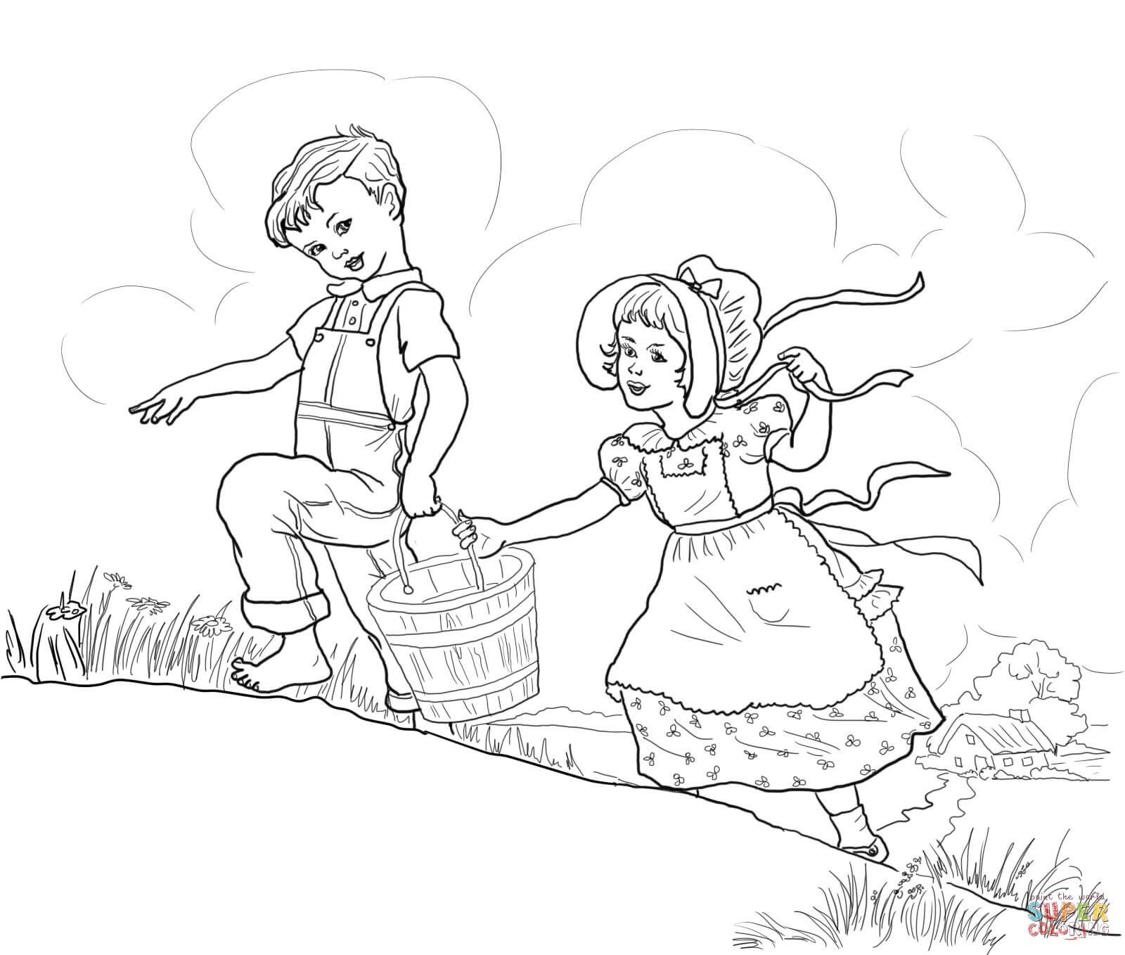 Jack And Jill Nursery Rhyme Coloring Page | Free Printable Coloring - Free Printable Nursery Rhyme Coloring Pages