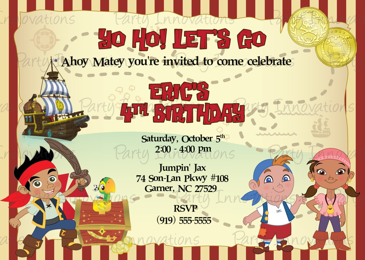 Jake Invitation Template Images Invitation Sample And Jake And - Free Printable Jake And The Neverland Pirates Cupcake Toppers