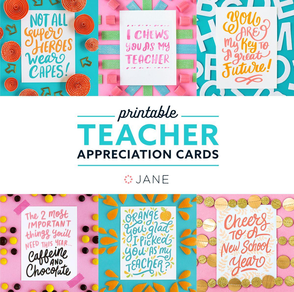 Jane Free Teacher Appreciation Printable Cards | Teacher - Free Teacher Appreciation Week Printable Cards