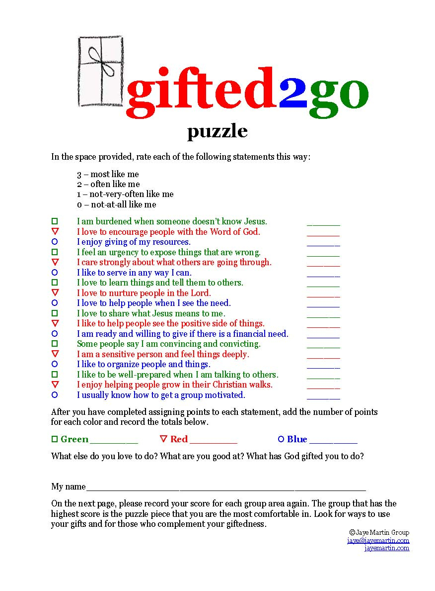 Jaye Martin Ministries Blog: Gifted2Go Puzzle - Free Printable Spiritual Gifts Test