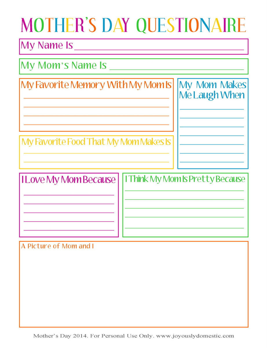 Joyously Domestic: Free Mother's Day Questionnaire Printable - Free Printable Mother's Day Questionnaire