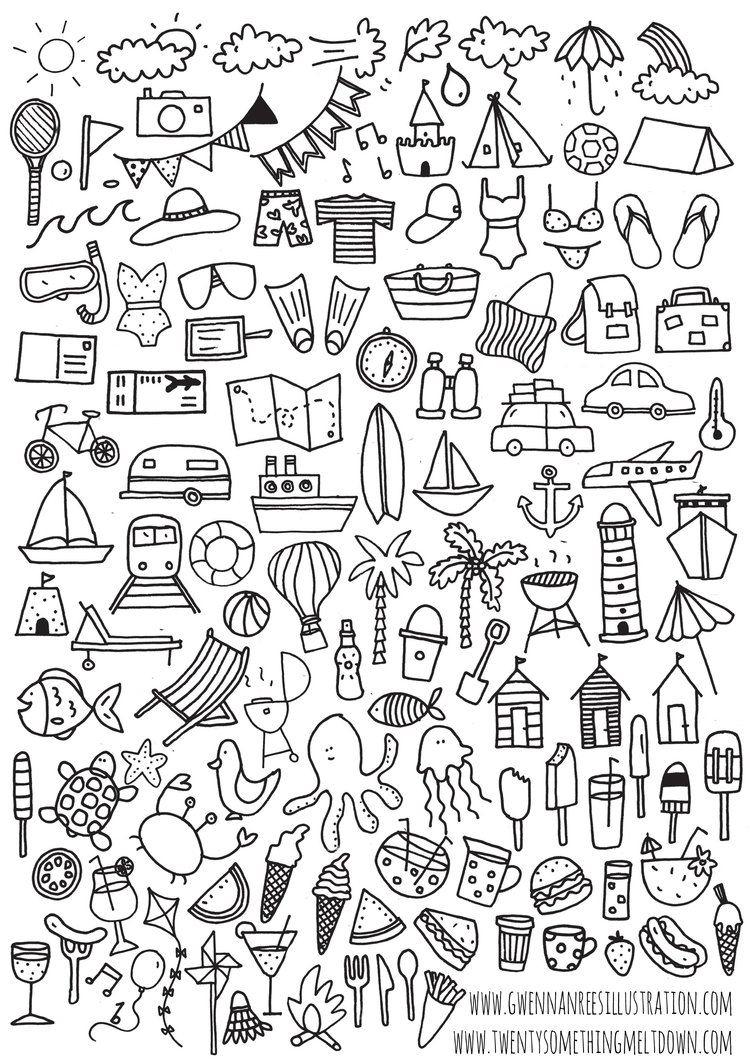 Jul 3 ***free*** Bullet Journal Printable; Summer Icons | Logs - Free Printable Icons